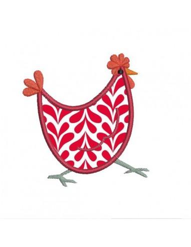 Motif de broderie poule for Tapis de cuisine motif poule