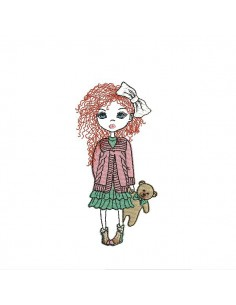 Instant download machine embroidery design little girl with teddy mylar