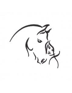 Motif de broderie machine  cheval et femme