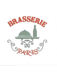 Motif de broderie machine brasserie de Paris
