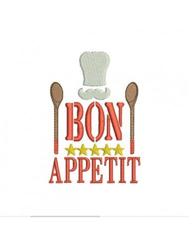 Motif de broderie machine  cuisine bon appétit