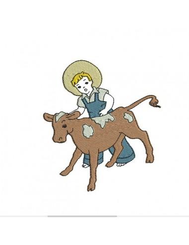 Motif de broderie machine garçon avec veau