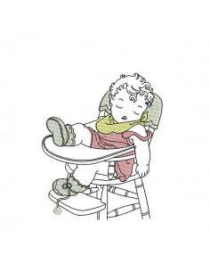 Motif de broderie machine bébé dans sa chaise haute