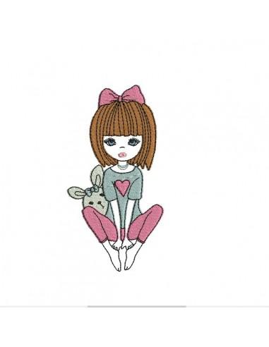 Motif de broderie machine petite fille avec un lapin