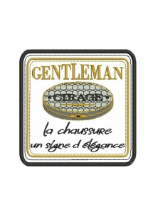 Motif de broderie machine plaque publicitaire cirage