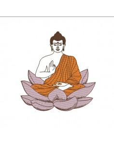 Motif de broderie bouddha fleur de lotus