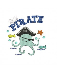 Instant download machine embroidery octopus pirate