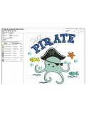 Motif de broderie machine pieuvre pirate