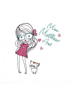 Motif de broderie machine petite fille avec son chat