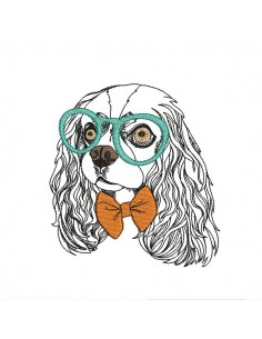 Instant download machine embroidery  dog cavalier king charles with his glasses