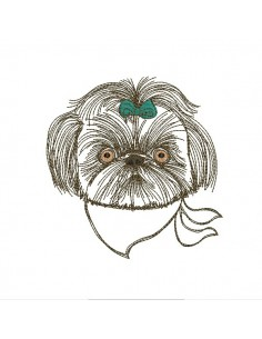 Instant download machine embroidery  dog shih tzu with his glasses