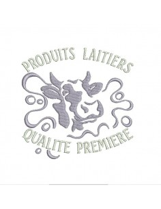 Motif de broderie machine vache produits laitiers