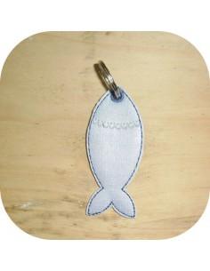 Motif de broderie machine porte clé sardine ITH