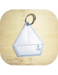 machine embroidery design boat  keychain ith