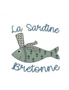 Motif de broderie machine sardine Bretonne