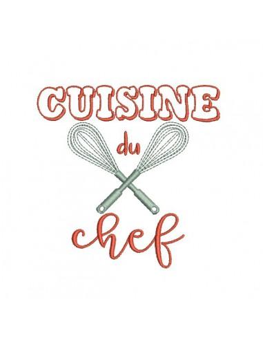 Motif de broderie machine cuisine du chef