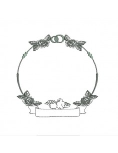 Embroidery design applique ornament frame