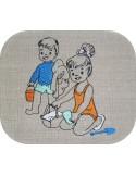 Motif de broderie machine enfants à la plage