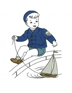 Instant download machine embroidery design vintage baby in his highchair