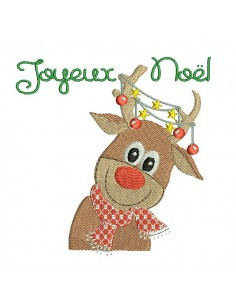 Instant download machine embroidery design christmas deer