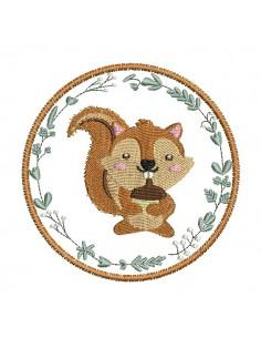 Instant download machine embroidery Squirrel