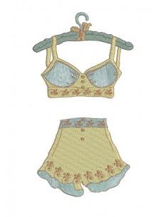 Motif de broderie machine  lingerie rétro