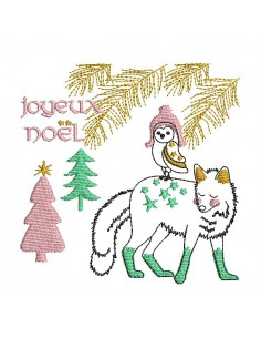embroidery design christmas bear and squirrel