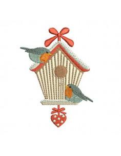 Motif de broderie machine  cabane aux oiseaux