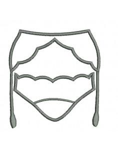Motif de broderie machine  culotte et porte jarretelles