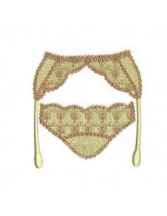 Motif de broderie machine  lingerie culotte et porte jarretelles