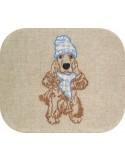 Motif de broderie machine cocker avec son bonnet et écharpe en appliqué