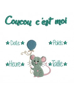 Instant download machine embroidery design boy mouse Newspaper Birth Announcement