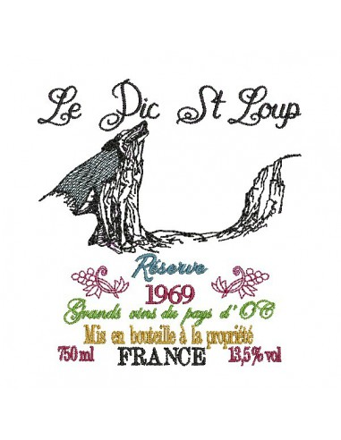 Instant download machine embroidery  French wine
