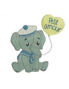 Motif de broderie machine  éléphant marin avec son ballon