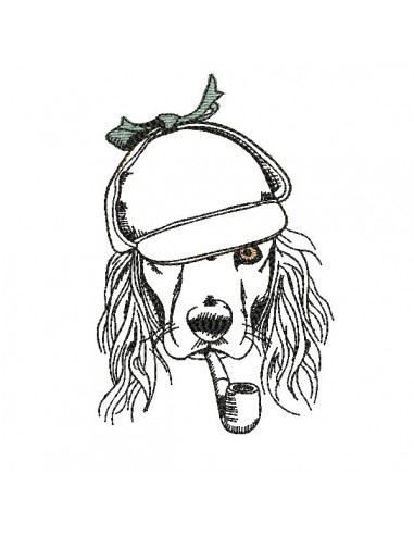 Motif de broderie machine cocker avec sa casquette appliquée et sa pipe
