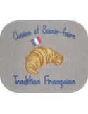 Motif de broderie machine café croissant