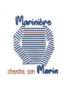 Motif de broderie machine marinière cherche son marin