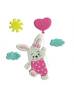 Instant download machine embroidery rabbit with his balloon