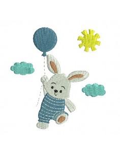 Motif de broderie machine  lapin avec son ballon