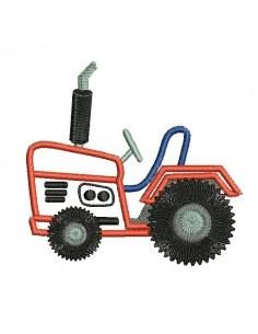Motif de broderie machine tracteur appliqué