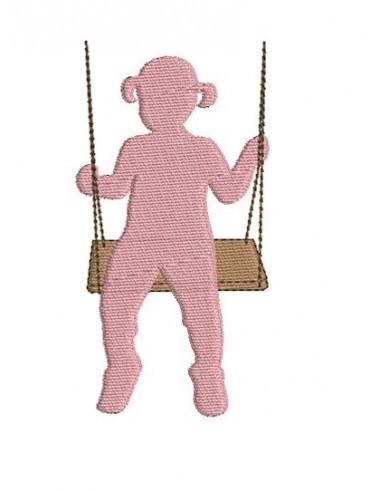 Motif de broderie petite fille sur balançoire