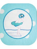Motif de broderie écusson piscine garçon