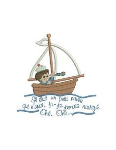 Motif de broderie petit navire