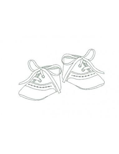 Motif de broderie  redwork chaussons de bébé