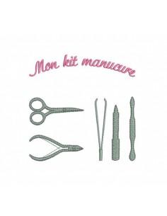 Motif de broderie machine kit manucure