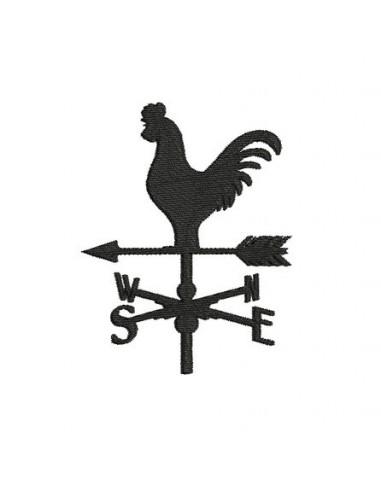 Motif de broderie machine girouette coq