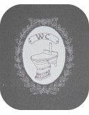 Motif de broderie machine cadre wc
