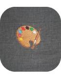 Motif de broderie machine palette de peinture