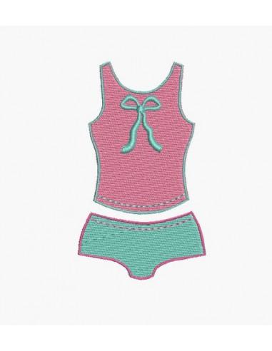 Motif de broderie machine ensemble lingerie boxer