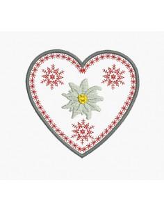 Motif de broderie machine coeur edelweiss